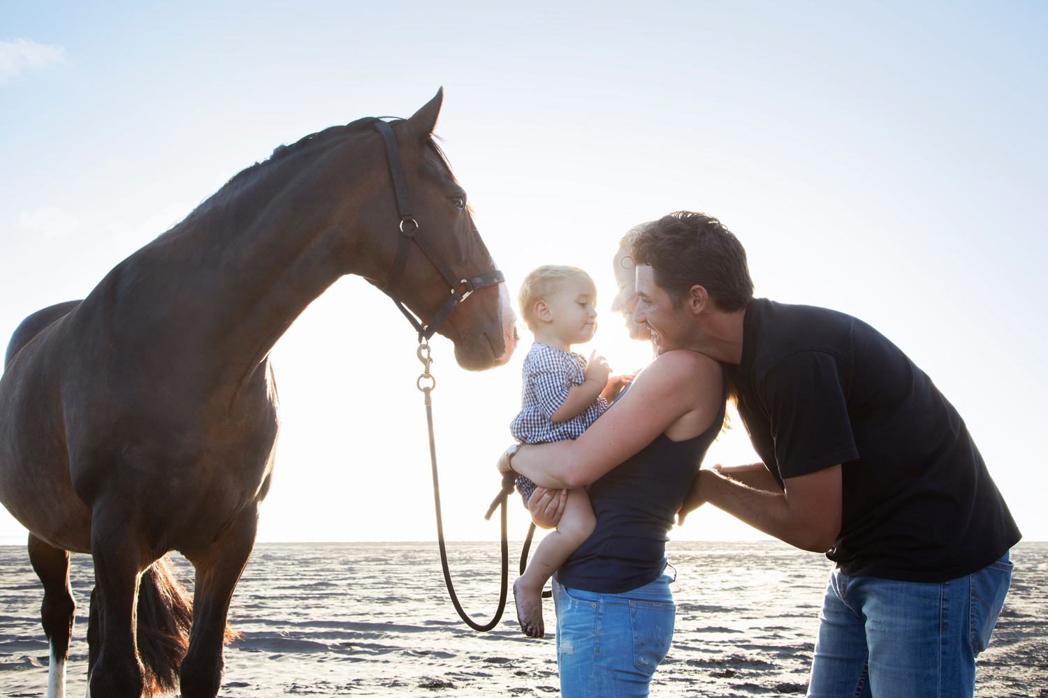 Family Portrait of couple with toddler on beach, Horse standing beside them, sunset